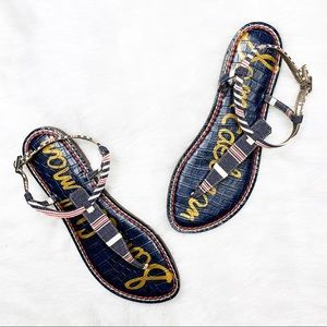 SAM EDELMAN Gigi Striped Canvas T-strap Sandal